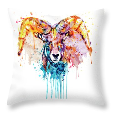 Throw Pillow featuring the mixed media Bighorn Sheep Portrait by Marian Voicu