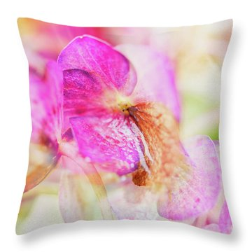 Throw Pillow featuring the photograph Bigleaf Hydrangea Abstract by Nick Biemans