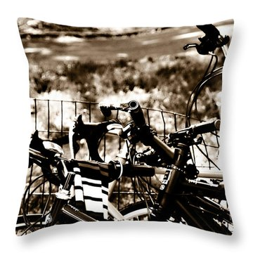 Bike Against The Fence Throw Pillow by Madeline Ellis