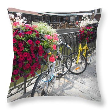Bike And Flowers Throw Pillow