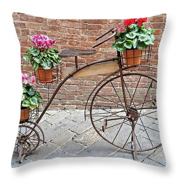 Throw Pillow featuring the digital art Bike Art - Siena, Italy by Joseph Hendrix