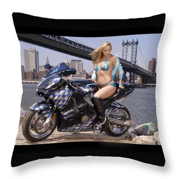 Bike, Babe, And Bridge In The Big Apple Throw Pillow by Lawrence Christopher