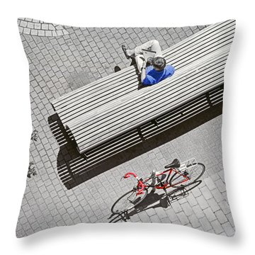 Bike Break Throw Pillow by Keith Armstrong