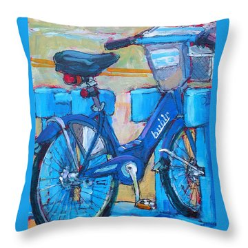 Throw Pillow featuring the painting Bike Bubbler by Les Leffingwell