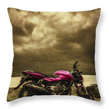 Bike Throw Pillow by Charuhas Images
