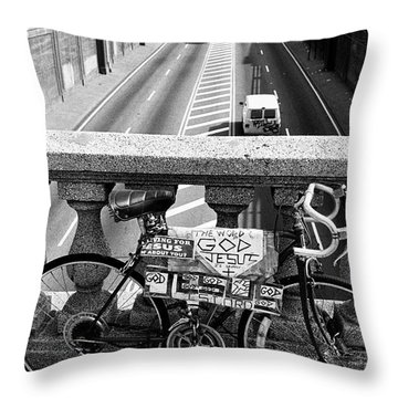 Throw Pillow featuring the photograph Bike Grand Concourse Bronx by Dave Beckerman