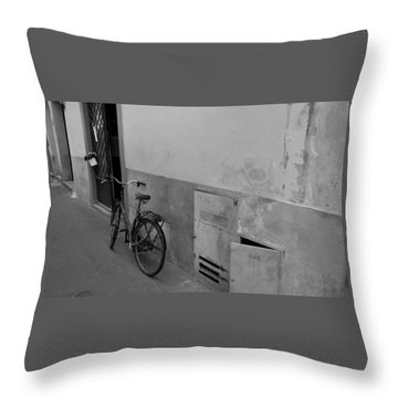 Bike In Alley Throw Pillow