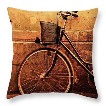 Bicycle At Rest, Paris  Throw Pillow