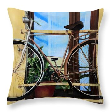 Bike In The Window Throw Pillow