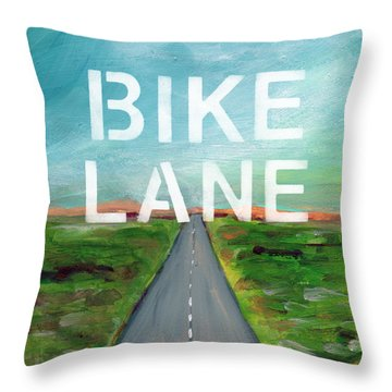 Bike Lane- Art By Linda Woods Throw Pillow by Linda Woods