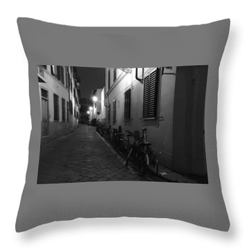 Bike Lined Alley Throw Pillow