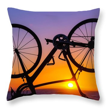 Bike On Seawall Throw Pillow
