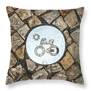Bike Path Sign On A Cobblestone Pavement Throw Pillow