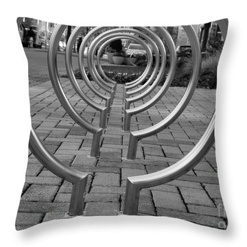 Throw Pillow featuring the photograph Bike Rack Black And White Version by John S