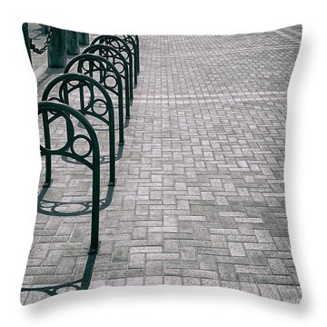 Throw Pillow featuring the photograph Bike Rack Square by Michael Hope