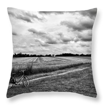 Bike Ride Throw Pillow by Karen Stahlros