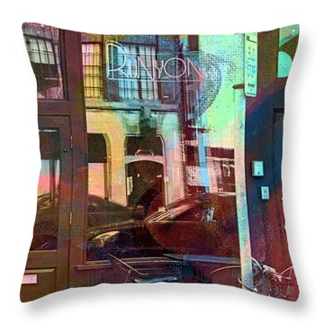 Throw Pillow featuring the digital art Bike Ride To Runyons by Susan Stone