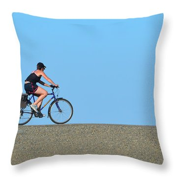 Bike Rider On Levee Throw Pillow