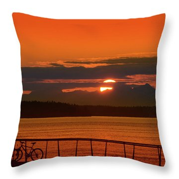 Bike Sunset Throw Pillow