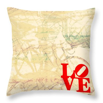 Bike The Main Line Throw Pillow by Brandi Fitzgerald