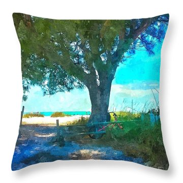 Bike To The Beach Throw Pillow