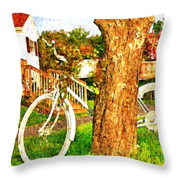 Bike With Flowers Throw Pillow