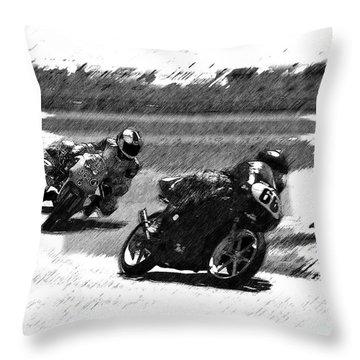Biker Race Throw Pillow