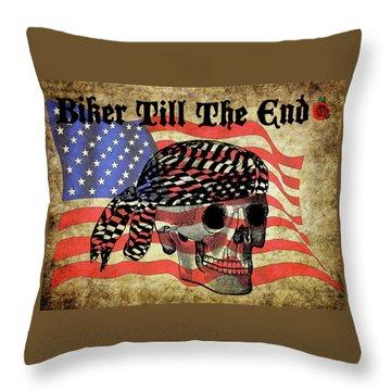 Biker Skull American Flag Old Paper Art Throw Pillow