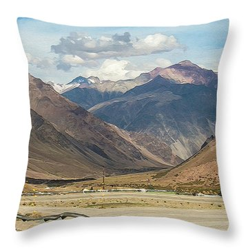 Bikers And The Andes Mountains Throw Pillow