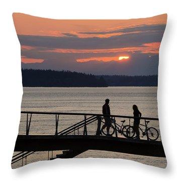 Bikers At Sunset Throw Pillow
