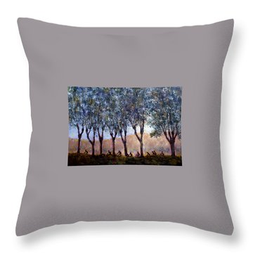 Bikers Of Burgundy Throw Pillow by Jill Musser
