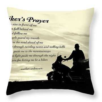 Biker's Prayer Throw Pillow