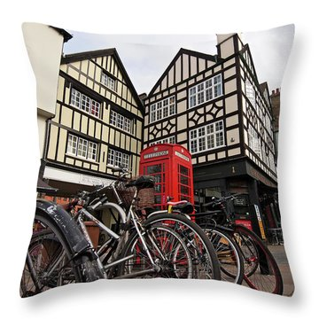 Throw Pillow featuring the photograph Bikes Galore In Cambridge by Gill Billington