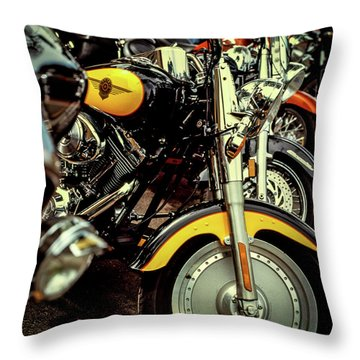 Throw Pillow featuring the photograph Bikes In A Row by Samuel M Purvis III