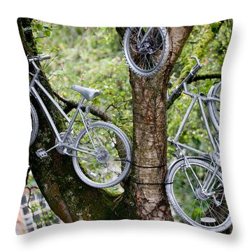 Bikes In A Tree Throw Pillow