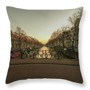 Bikes On The Canal Bridge Throw Pillow