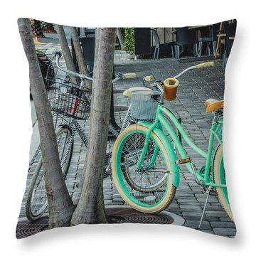 Bikes To The Beach Throw Pillow by Nance Larson