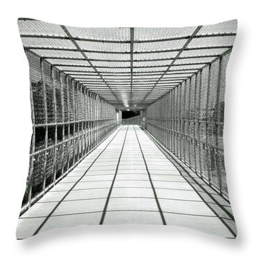 Biking Bridge Throw Pillow