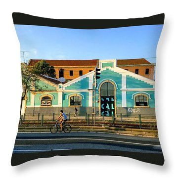 Biking In Lisboa Throw Pillow