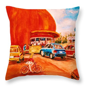 Biking Past The Orange Julep Throw Pillow by Carole Spandau
