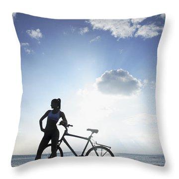 Biking Silhouette Throw Pillow by Brandon Tabiolo - Printscapes