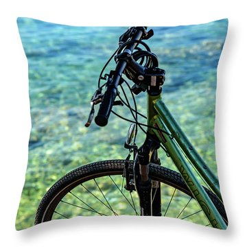 Biking The Rovinj Coastline - Rovinj, Istria, Croatia Throw Pillow