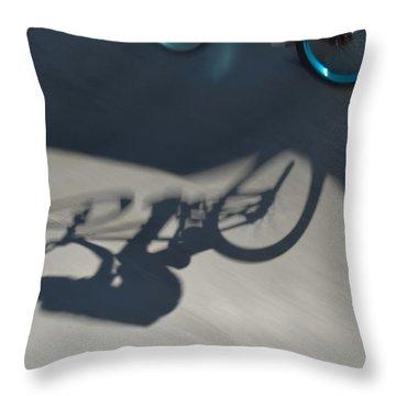 Biking The Skateboard Park 3 Throw Pillow by Kae Cheatham