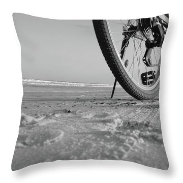 Biking To The Beach Throw Pillow