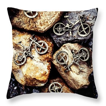 Biking Trail Scene Throw Pillow