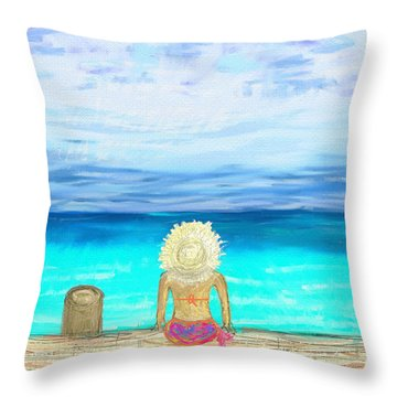 Bikini On The Pier Throw Pillow by Jeremy Aiyadurai