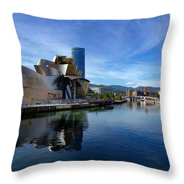 Bilbao In Autumn With Blue Skies Next To The River Nervion Throw Pillow