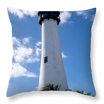 Bill Baggs Lighthouse Cape Florida State Park Palm Trees Throw Pillow