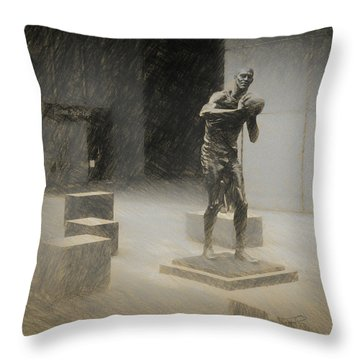 Bill Russell Statue Throw Pillow