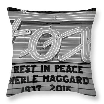 Billboard Merle Haggard Rip Black And White Throw Pillow